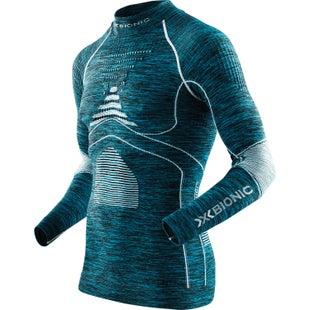 X-Bionic Energy Accumulator EVO Melange Turtle Neck Base Layer - Blue Melange White