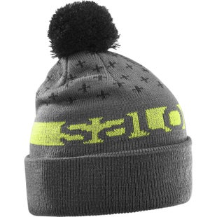 Salomon Free Beanie - Forged Iron Black Acid Lime