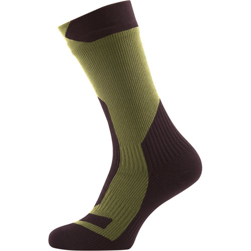 Sealskinz Trekking Thick Mid Outdoor Socks - Dark Olive Golden Moss