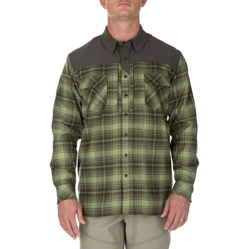 5.11 Tactical Sidewinder Flannel Long Sleeve Shirt - Mosstone