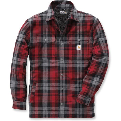 Carhartt Hubbard Sherpa Lined Long Sleeve Shirt - Dark Crimson