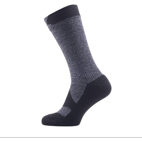 Sealskinz Walking Thin Mid Outdoor Socks - Dark Grey Marl Black