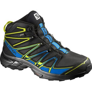 Salomon X Chase Mid GTX Walking Shoes - Black Bright Blue Gecko Green