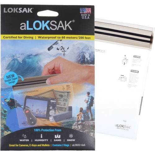 Loksak aLoksak 6 x 6 in 2 pack Drybag - Clear