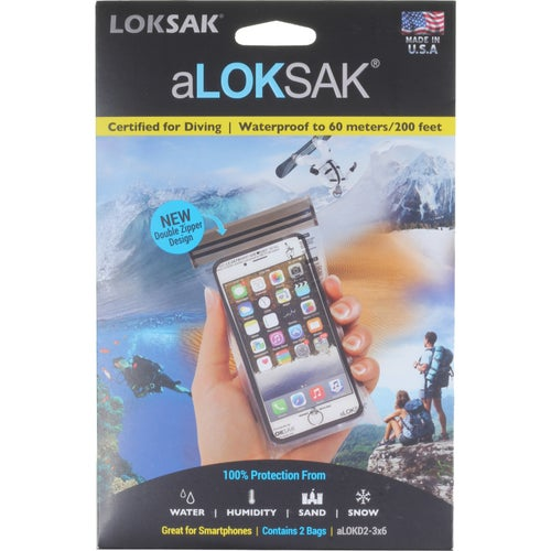 Loksak aLoksak 3 x 6 in 2 Pack Drybag - Clear