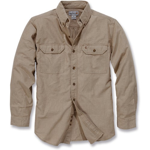 Carhartt Fort Solid Long Sleeve Shirt - Dark Tan Chambray