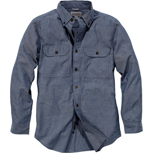 Carhartt Fort Solid Long Sleeve Shirt - Denim Blue Chambray