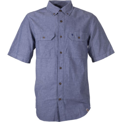Carhartt Fort Solid Short Sleeved Shirt - Denim Blue Chambray