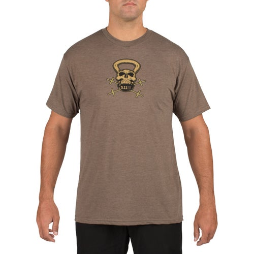 5.11 Tactical RECON Short Sleeve T-Shirt - Skull Kettle Brown Heather