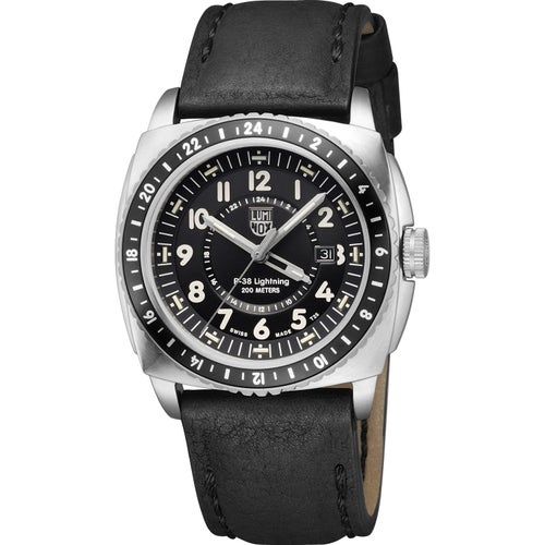 Luminox P-38 Lightning A9421 Watch - Black Silver