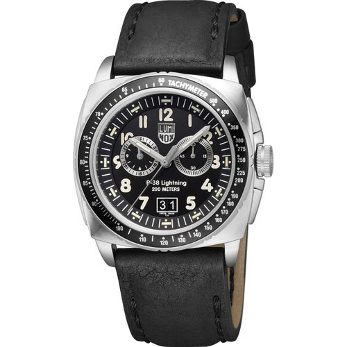Luminox P-38 Lightning Chronograph A9441 Watch - Black Silver