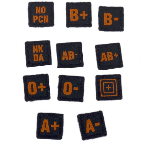 5.11 Tactical Blood Type Patches Patch - Black Orange