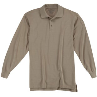 5.11 Tactical Utility Long Sleeve Polo Shirt - Silver Tan