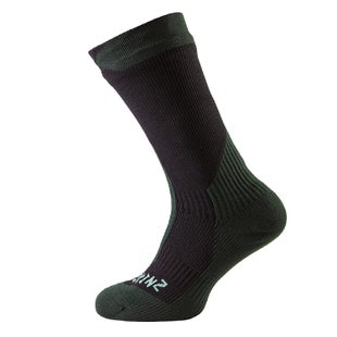 Sealskinz Trekking Thick Mid Outdoor Socks - Black Racing Green