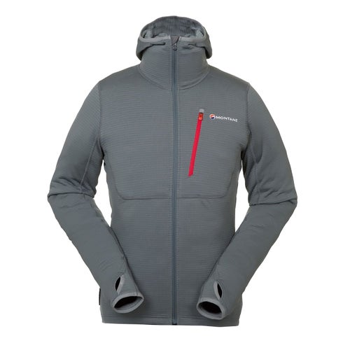 Montane Power Up Hooded Polartec Fleece - Stratus Grey Alpine Red