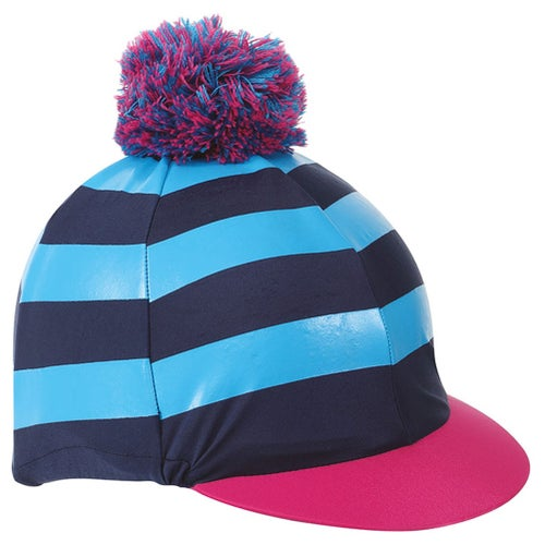 b7f6c6ce47e Shires Pom Pom with Stripes Hat Cover - Navy Turquoise Pink