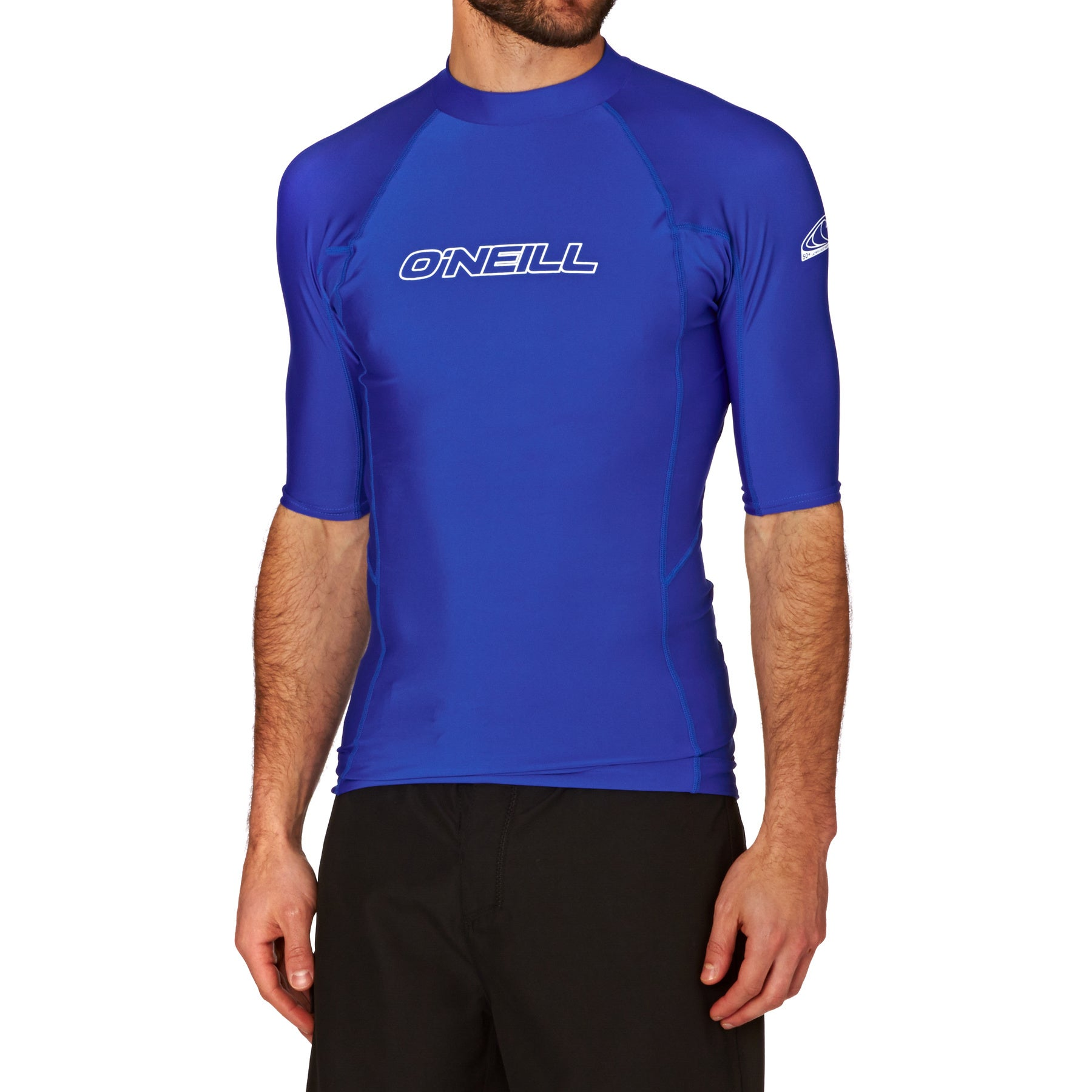 O Neill Basic Skins Short Sleeve Crew Mens Surf Gear Rash Vest - Pacific