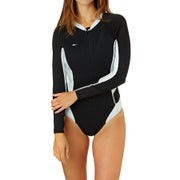 O Neill Womens Superlite Long Sleeve Booty Cut Womens Rash Vest - Black Vida