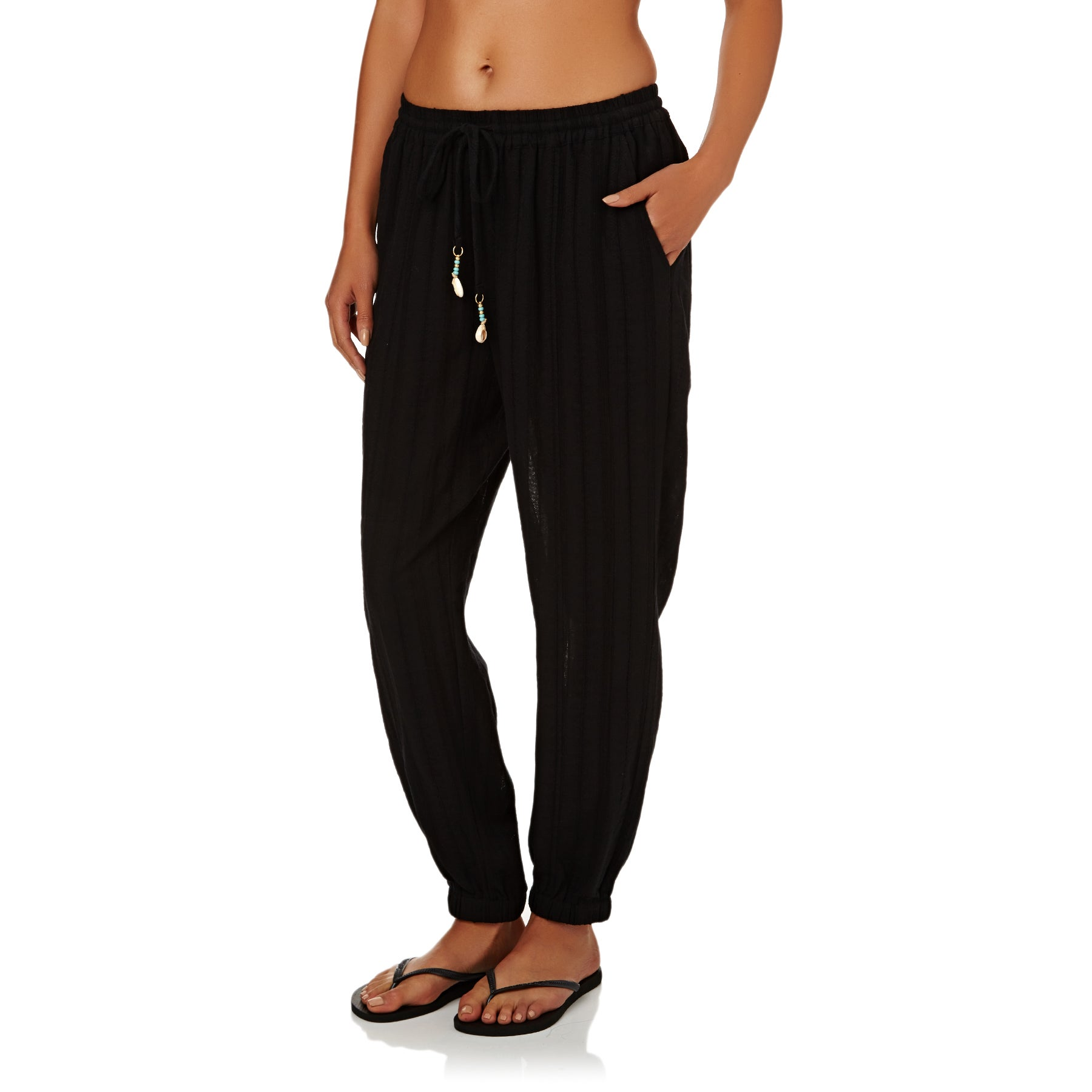 Black All Sizes Seafolly Washed Dobby Beach Womens Pants Trousers