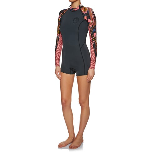 540845e53f Billabong Spring Fever 2mm 2018 Back Zip Long Sleeve Shorty Womens Wetsuit
