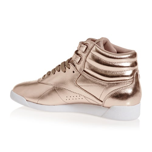 Reebok Freestyle Hi Top Metallic Womens Shoes available from Surfdome 7041e4917