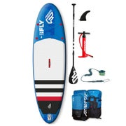 Fanatic Fly Air Stringer w Carbon Pure Paddle and ION Leash SUP Board - Blue