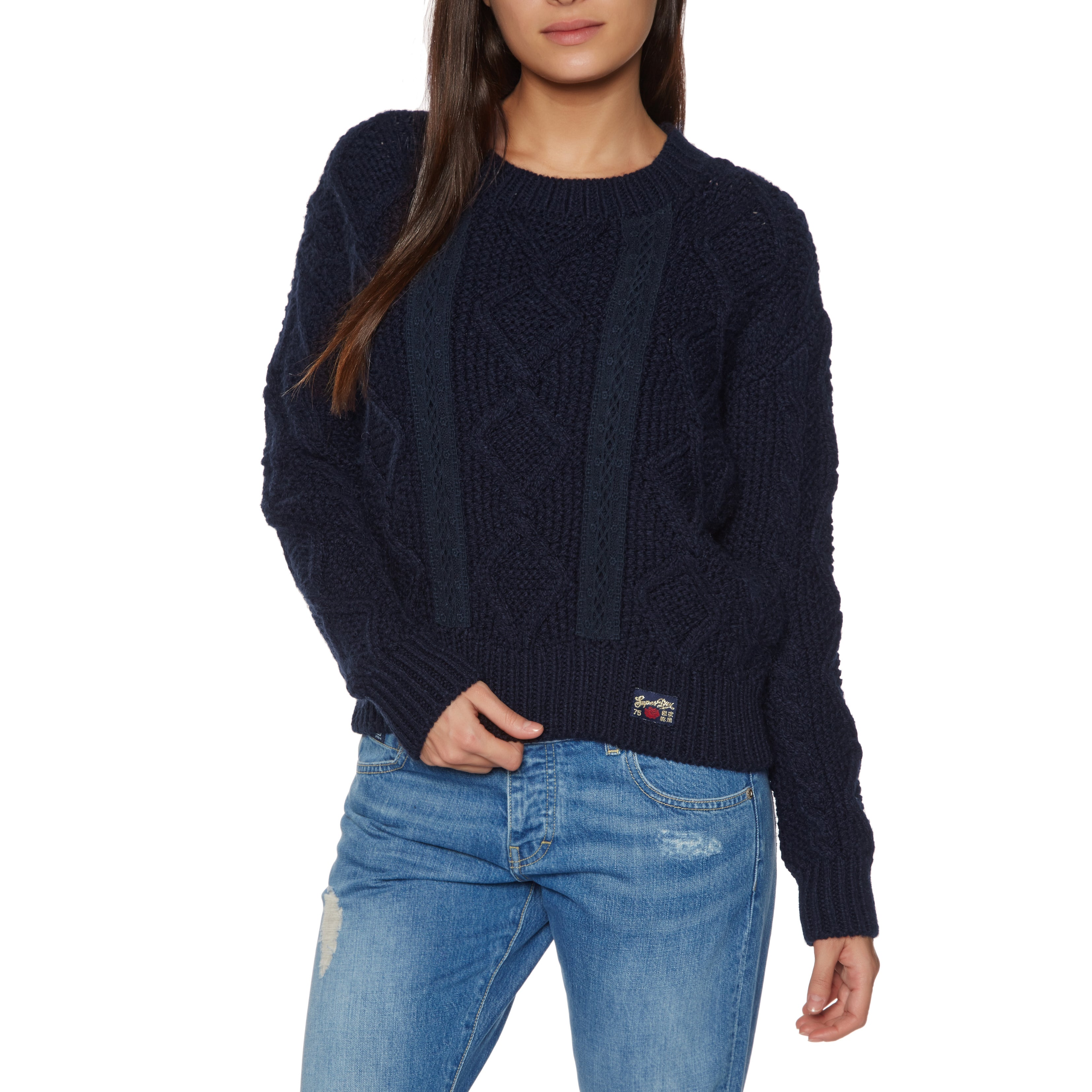 a3703dd58f8 Superdry Clara Lace Knit Womens Jumper Knits - Eclipse Navy All ...