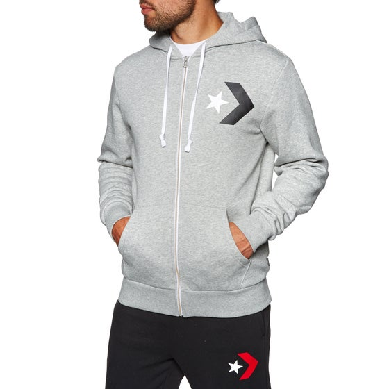 16a46517a637 Converse. Converse Mens Star Chevron Graphic Zip Hoody - Vintage Grey  Heather