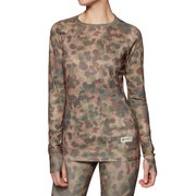 Burton Lightweight Crew Thermal Womens Base Layer Top - Moss Camo