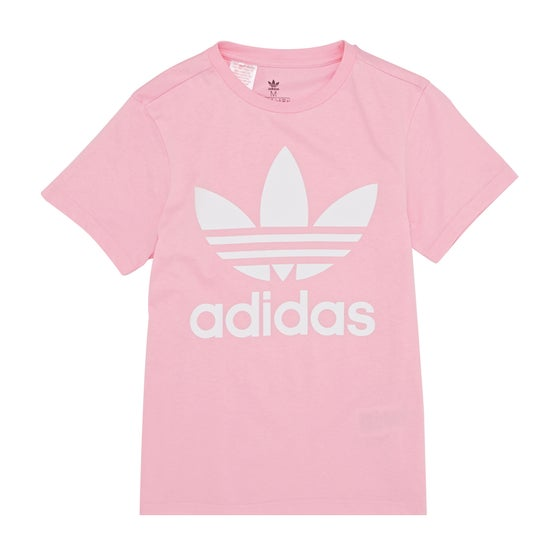 bf4a60ed800f2c Adidas Originals. Adidas Originals Trefoil Kids Short Sleeve T-Shirt -  Light Pink White