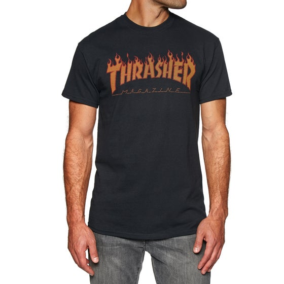 5a6b642a310d8 Thrasher. Thrasher Flame Halftone Short Sleeve T-Shirt - Black