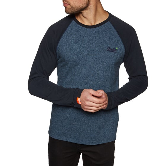 b7f7e97e5c90 Superdry. T-Shirt à Manche Longue Superdry Orange Label Baseball - Woodland  Blue Grit