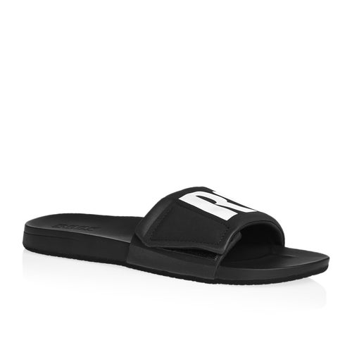 ff83b8e7b5a Reef Cushion Bounce Slide Black white  Sandals available from Surfdome