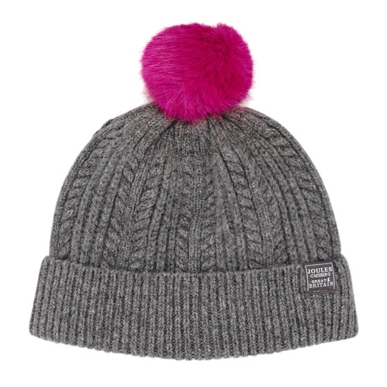 8971241ee23 Joules Cable Knit Bobble Womens Beanie - Dark Grey