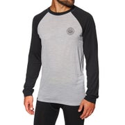Mons Royale Icon Raglan Long Sleeve Base Layer Top - Black Grey Marl