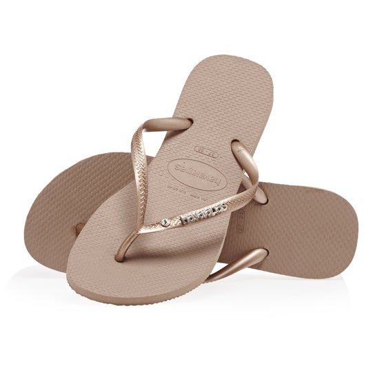 d8ce9a5cce0740 Havaianas. Havaianas Slim Metal Logo and Crystal Womens Sandals - Rose Gold
