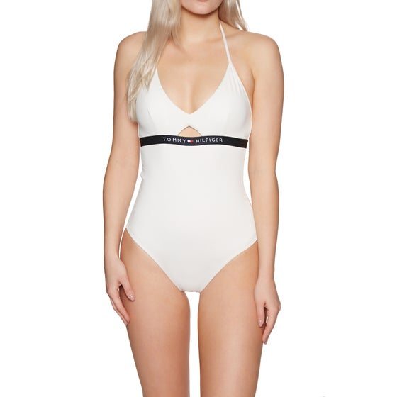 ed23807214249b Tommy Hilfiger. Tommy Hilfiger Cutout One Piece Womens Swimsuit - Snow White