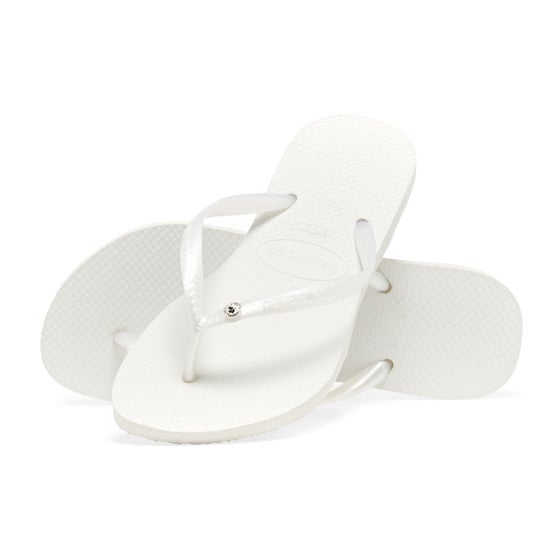 8a9118aa5 Havaianas. Havaianas Slim Crystal Glamour Womens Sandals - White metallic