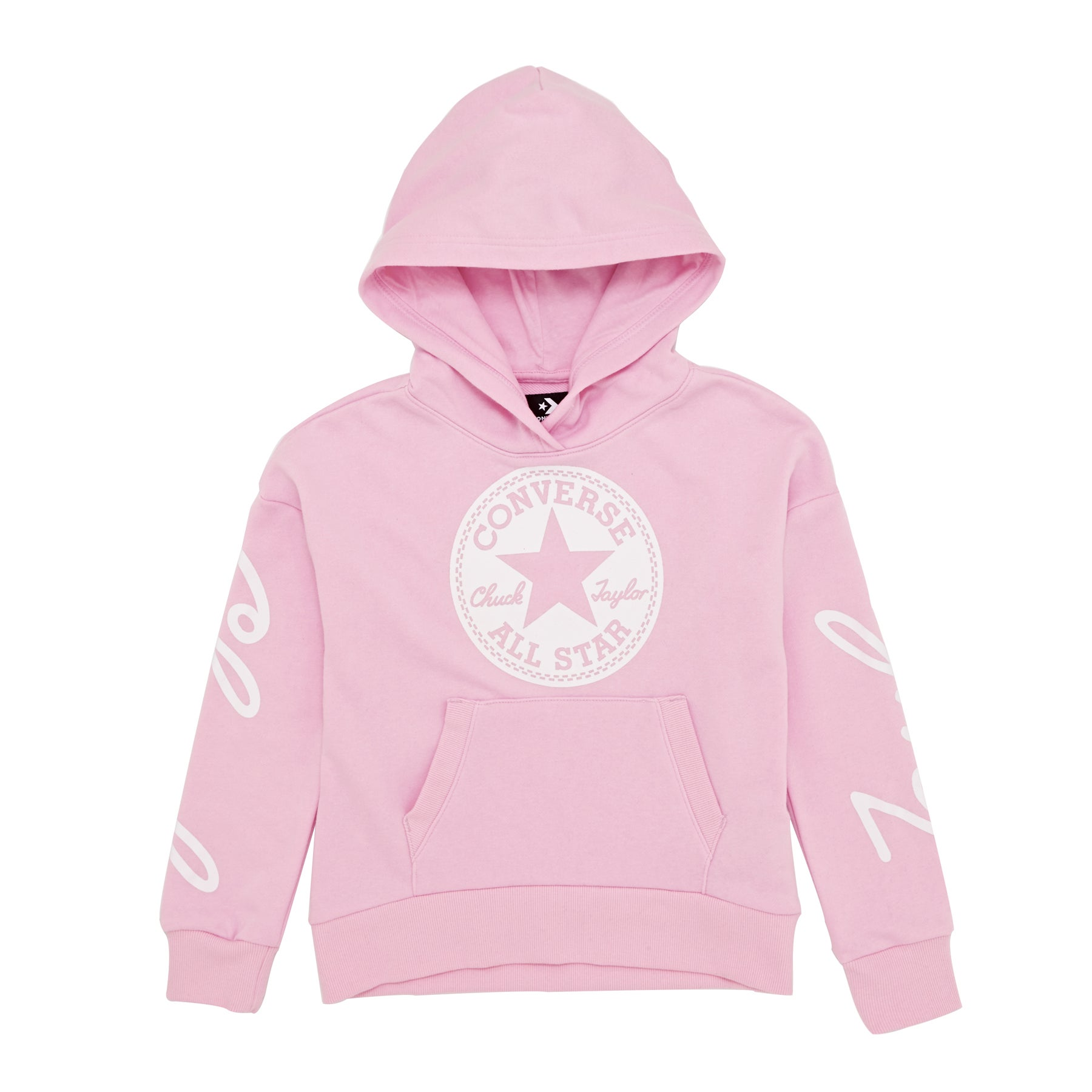 Converse Chuck Taylor Script F.t Pullover Pink Foam Kids Pullover Hoody available from Surfdome