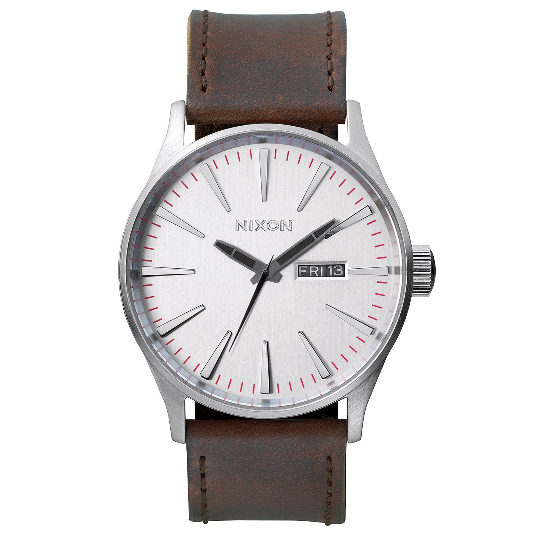 Nixon Sentry Leather 腕時計 - Silver Brown