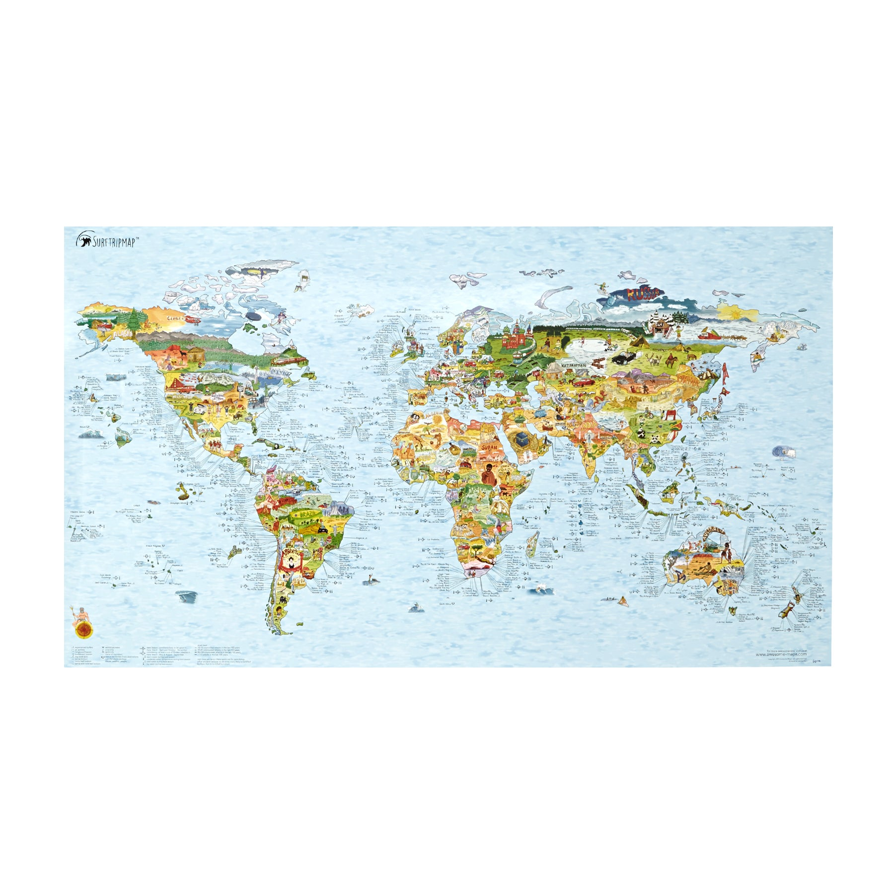 Surf Accessory Awesome Maps World Surf Map - Multi