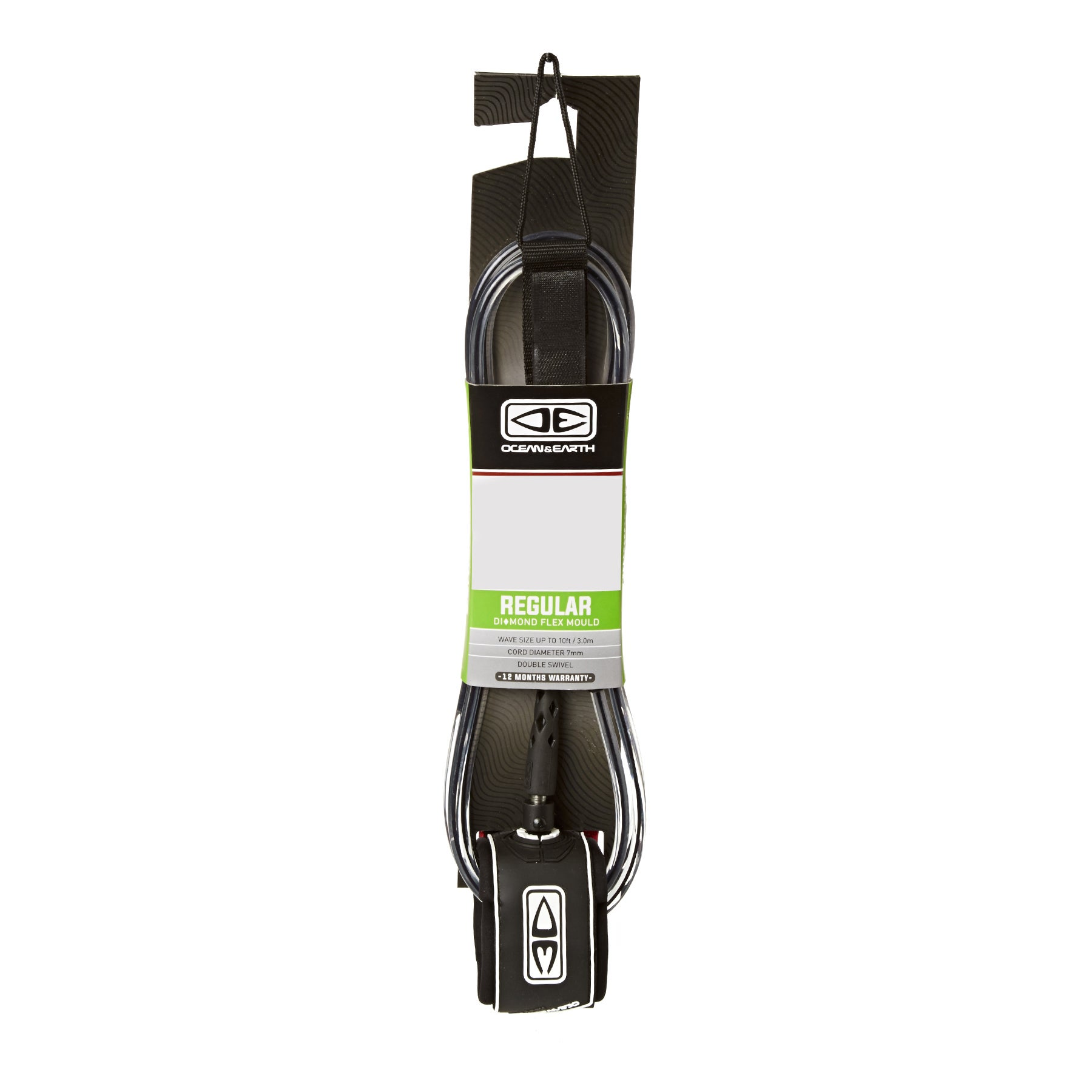 Ocean and Earth Regular Moulded Surf Leash - Black