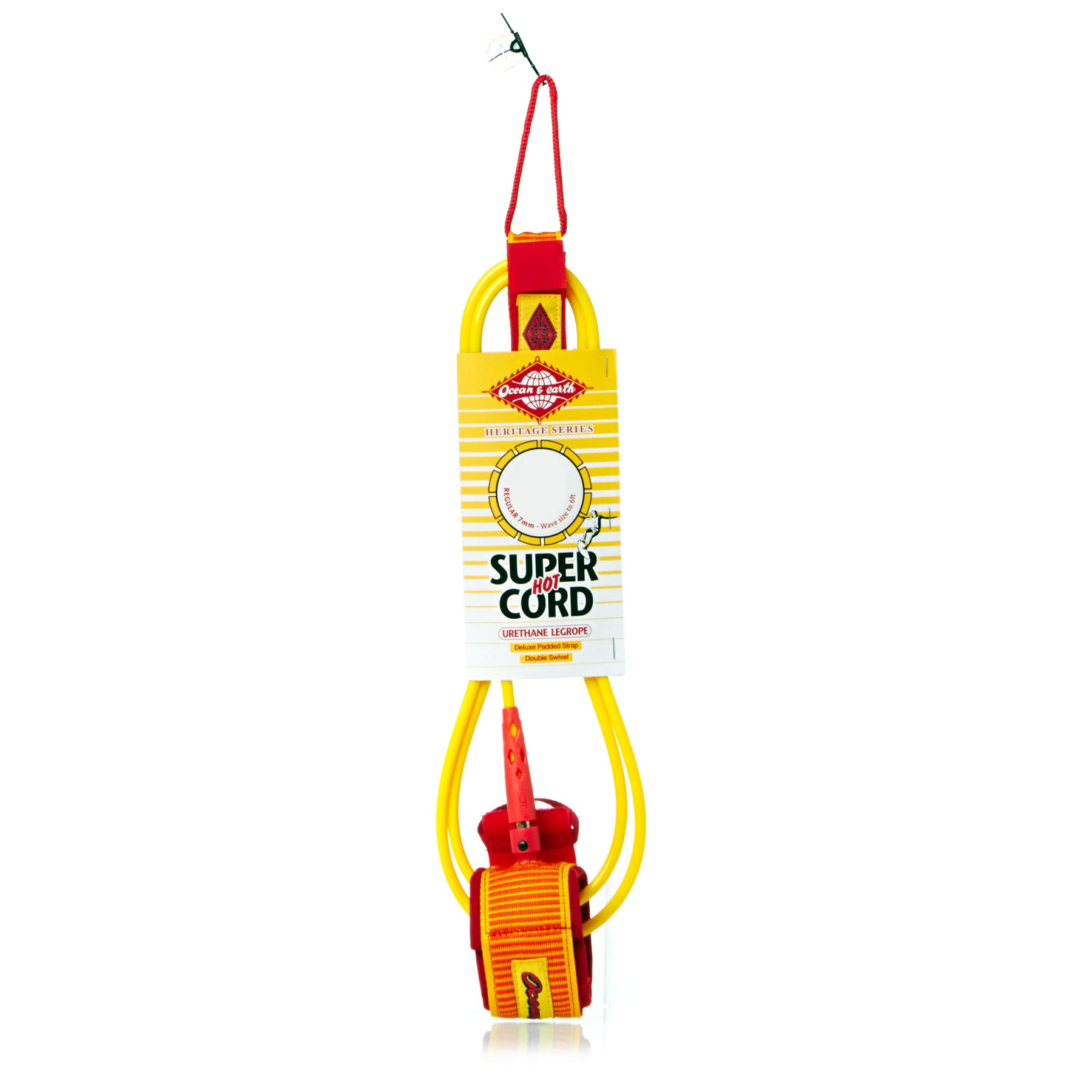 Ocean and Earth Heritage Comp 7mm Surf Leash - Yellow