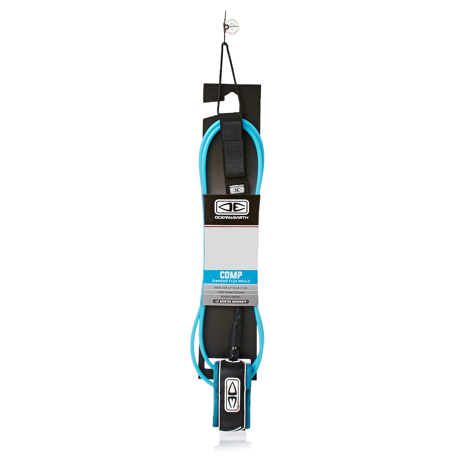 Ocean and Earth Regular Comp Moulded Surf Leash - Blue