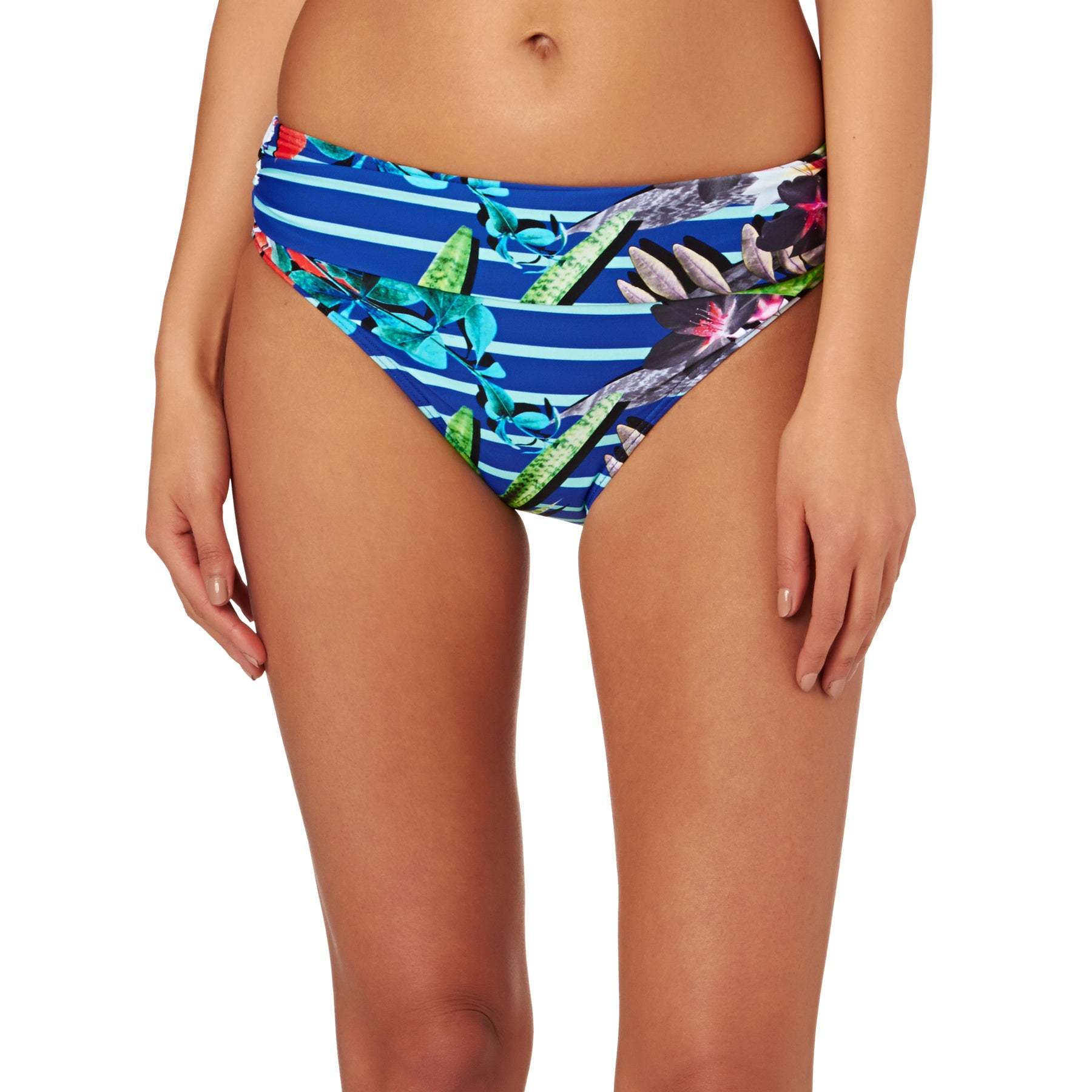 Moontide Eden Ruched Front Bikini Bottoms - Stripes