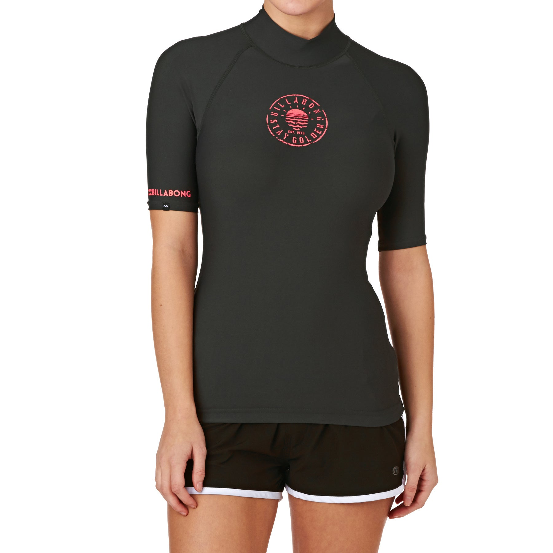 Billabong Logo Short Sleeve Womens Rash Vest - Black Sands