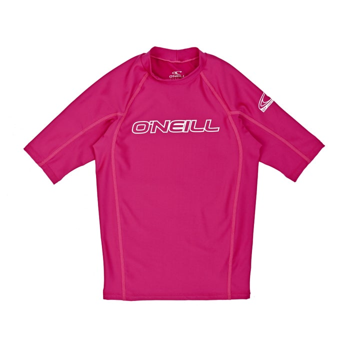 O Neill Basic Skins Short Sleeve Crew Girls Rash Vest