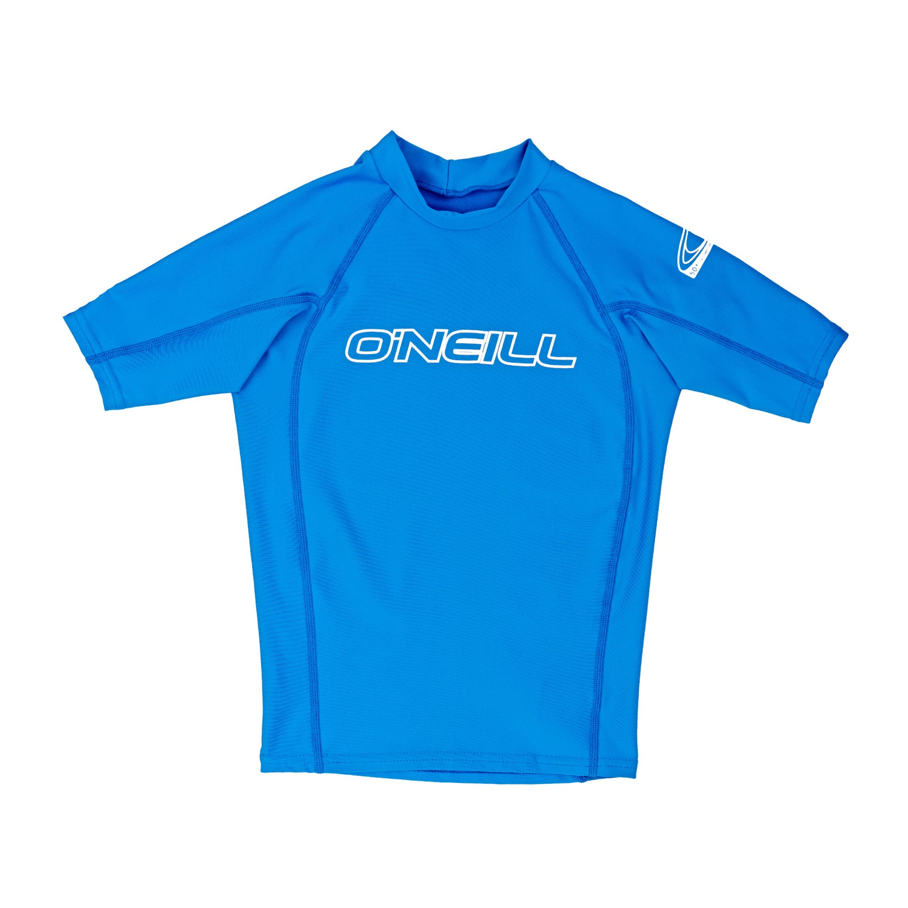 O Neill Basic Skins Short Sleeve Crew Boys Rash Vest - Brite Blue