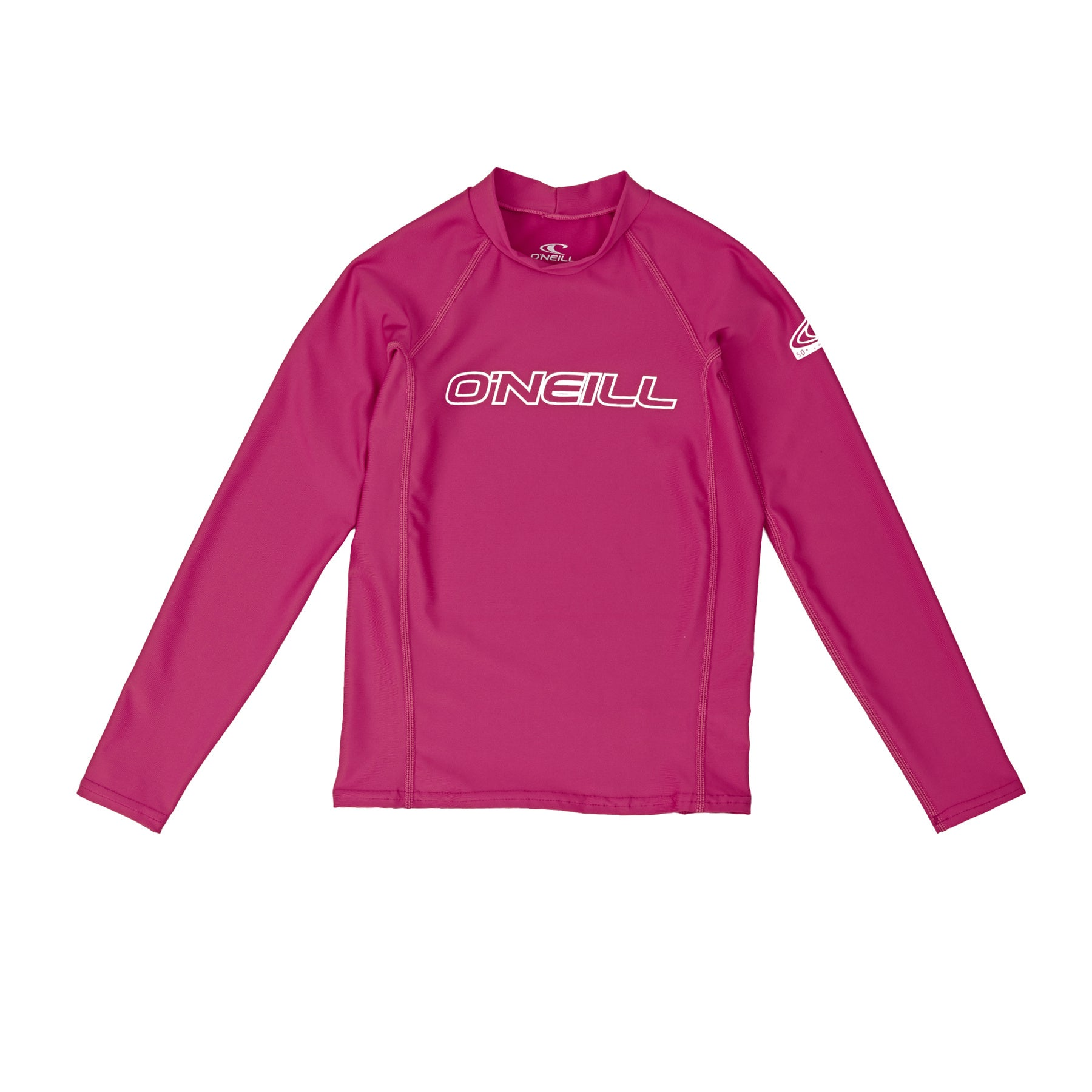 O Neill Basic Skins Long Sleeve Crew Girls Rash Vest - Watermelon
