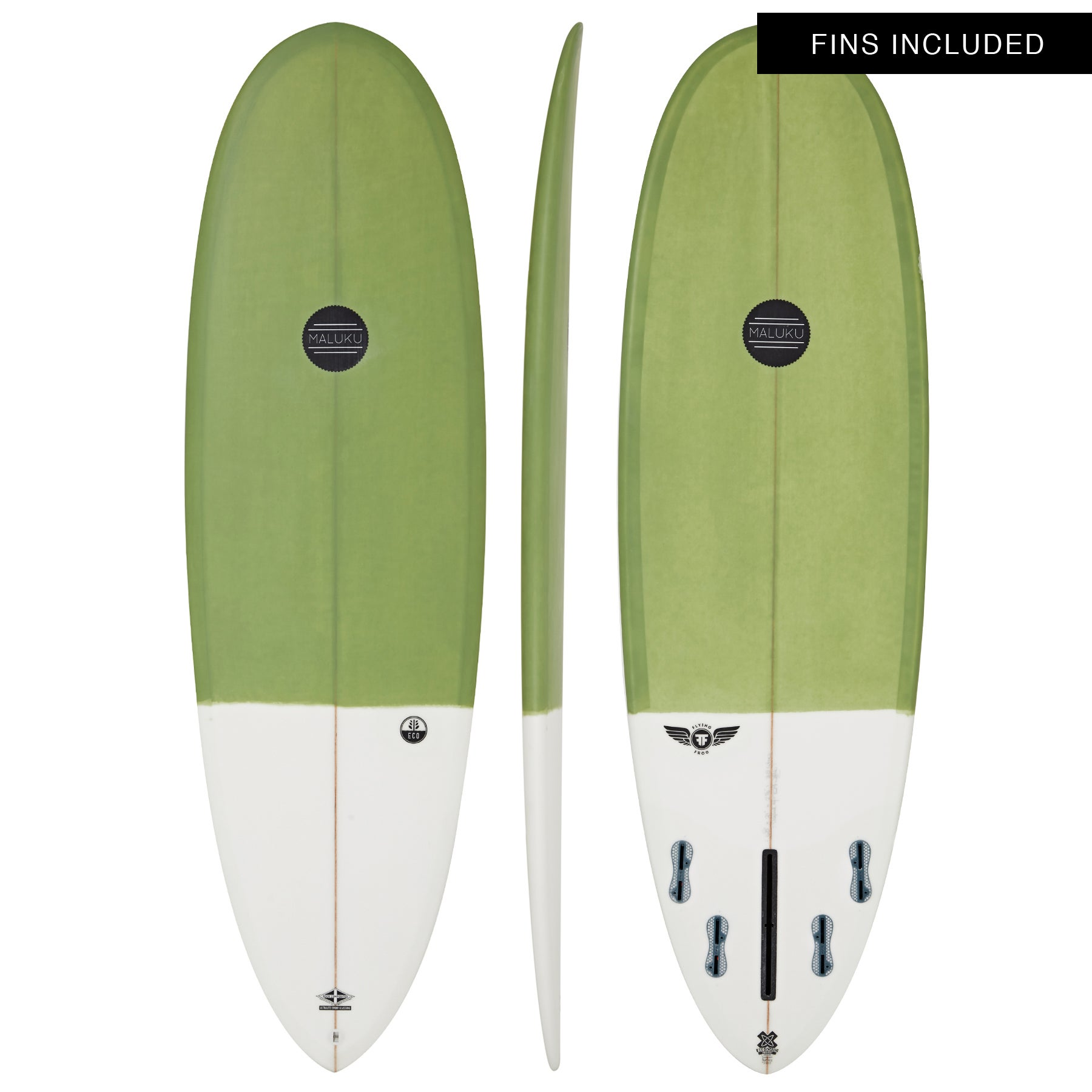 Maluku Flying Frog Eco 5 Fin Surfboard - Green White